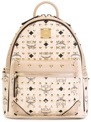 Mcm Mini Studded Backpack Nude Neutrals