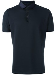 Lanvin Contrast Collar Polo Shirt Blue