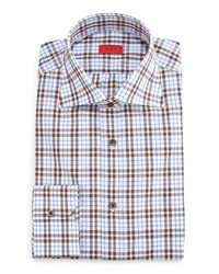Isaia Box Check Dress Shirt Gray Brown Camel