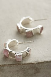 Anthropologie Pink Opal Silver Mini Hoops Gold