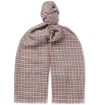 Loro Piana Fringed Checked Cashmere And Silk Blend Scarf Blue
