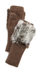 Adrienne Landau Fur Knit Fingerless Gloves Goma Brown