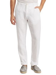 Saks Fifth Avenue Collection Drawstring Linen Pants White Navy