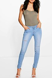 Boohoo Mid Rise Light Wash Ripped Skinny Jeans Blue