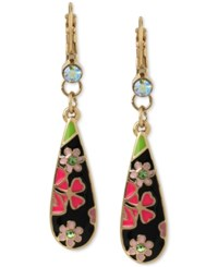Betsey Johnson Gold Tone Colorful Enamel Flower Drop Earrings Black Pink