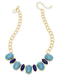 Thalia Sodi Gold Tone Turquoise Color And Blue Stone Necklace Only At Macy's