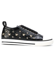 Red Valentino Star Studded Lace Up Sneakers Women Leather Rubber 35 Black