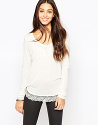 Esprit Lace Trim Long Sleeve Tee Offwhite