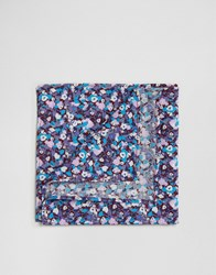 Asos Wedding Floral Pocket Square In Blue Blue