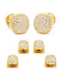 Cufflinks Inc. White Preciosa Pave Cuff Links And Stud Set Gold