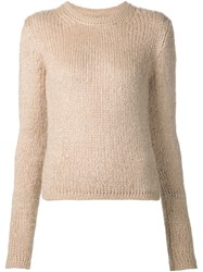 Rick Owens Crew Neck Sweater Nude And Neutrals