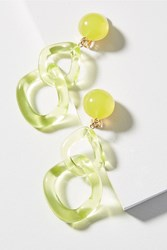 Anthropologie Looped Lucite Clip On Earrings Chartreuse