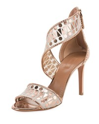 Alaia Filet Triangle Mirror Sandals Gold