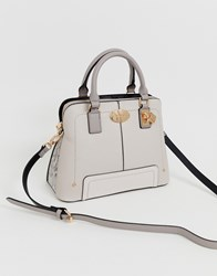 River Island Shoulder Bag With Gold Detail In Light Grey