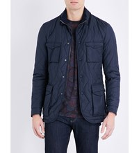 Etro Suede Collared Quilted Coat Navy