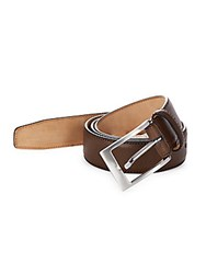 Saks Fifth Avenue Made In Italy Saffiano Leather Belt Brown