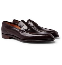 George Cleverley Horween Shell Cordovan Leather Penny Loafers Burgundy