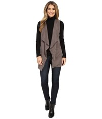Bobeau Sleeveless Woven Blazer Castlerock Women's Jacket Gray