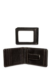 Jack Georges Voyager Small Bi Fold Money Clip Genuine Buffalo Leather Wallet Black