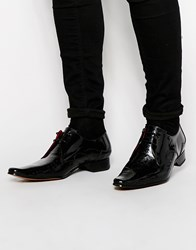 Jeffery West Leather Pattern Derby Shoes Black