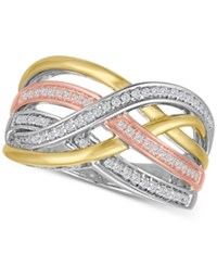 Macy's Diamond Weave Tri Color Statement Ring 1 4 Ct. T.W. In Sterling Silver And 14K Gold Plate Tri Tone