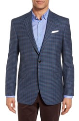 Ted Baker Men's London Jay Trim Fit Check Wool Sport Coat Blue