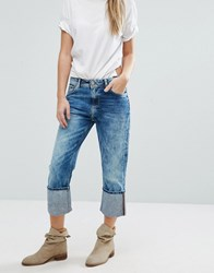Pepe Jeans Donna High Turnup Cropped Denim Blue