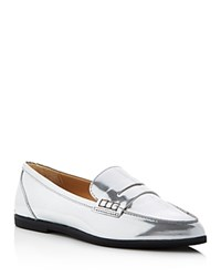 Michael Michael Kors Connor Metallic Pointed Toe Penny Loafers Silver