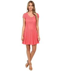 Gabriella Rocha Lace Cap Sleeve Fit Flare Dress Coral Women's Dress