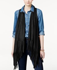 American Rag Fringed Perforated Faux Suede Vest Only At Macy's Black
