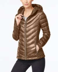 Calvin Klein Hooded Packable Down Puffer Coat Shine Taupe