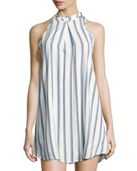 Collective Concepts Striped Halter Neck Shift Dress Ivory
