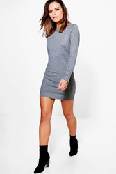 Boohoo Studded Zip Sleeve Jumper Dress Grey