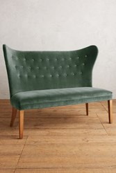 Anthropologie Velvet Wingback Bench Armless Duck Egg