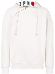 Emporio Armani Koi Fish Embroidered Hoodie Nude And Neutrals