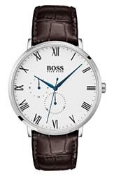 Boss William Leather Strap Watch 40Mm White Brown