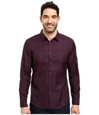 Calvin Klein Long Sleeve Jacquard Plaid Gothic Grape Men's Clothing Purple