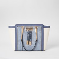 River Island Blue Panelled Wing Tote Bag