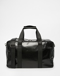 Asos Large Leather Holdall In Black