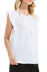 Vince Camuto Women's Flutter Sleeve Keyhole Blouse Ultra White