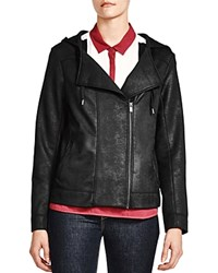 The Kooples Faux Leather Hooded Jacket Black