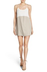 Mimi Chica Women's Colorblock Racerback Tank Dress Neutral