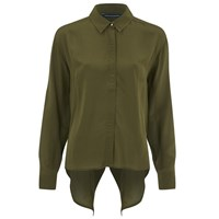 French Connection Women's Super Silk Shirt Turtle Green