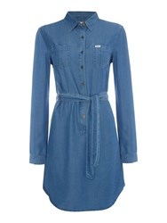 Relaxed Long Sleeve Shirt Dress In Flat Mid Denim Light Wash
