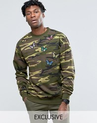 Reclaimed Vintage Oversized Camo Sweatshirt With Butterfly Patches Khaki Green
