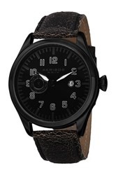 Akribos Xxiv Men's Genuine Leather Strap Watch Black