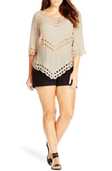 City Chic Plus Size Women's Lucky Brand Crochet Trim Top