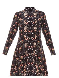 Mother Of Pearl Sadie Floral Jelly Fish Print Silk Dress Navy Multi