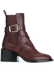 Jil Sander Buckle Strap Ankle Boots Red