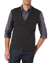 Perry Ellis Big And Tall Herringbone Sweater Vest Black